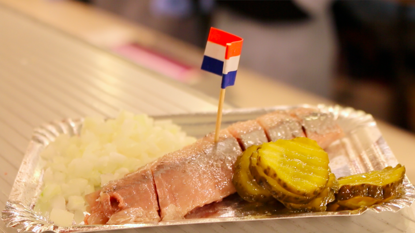 Herring from a typical Amsterdam fish stall